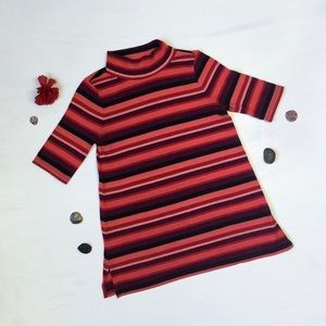 LOFT - Rosy, Striped, Turtle Neck, Half Sweater